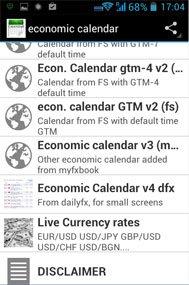 application smartphone calendrier économique