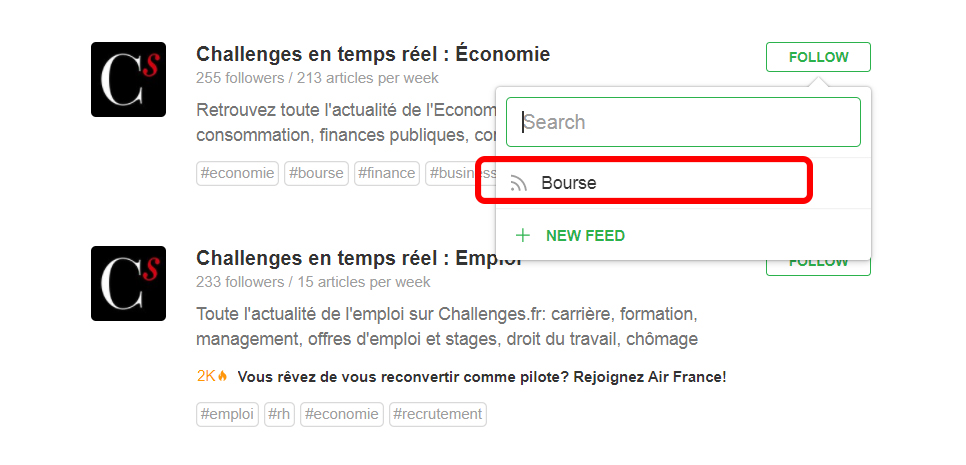 Feedly challenges dossier bourse