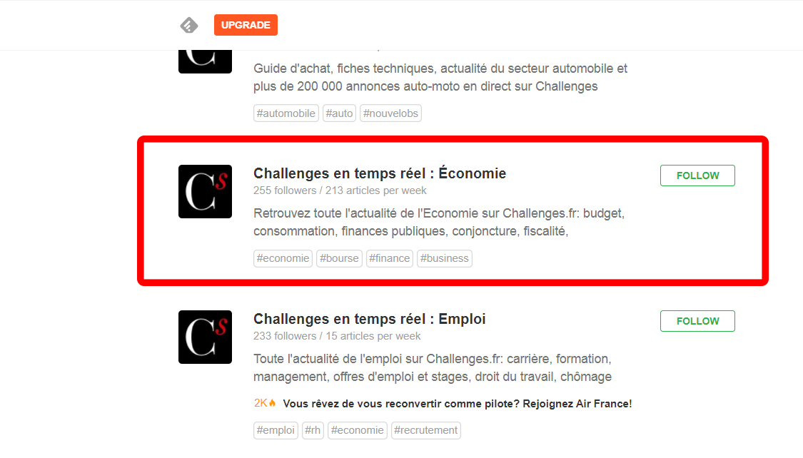 feedly challenges economie