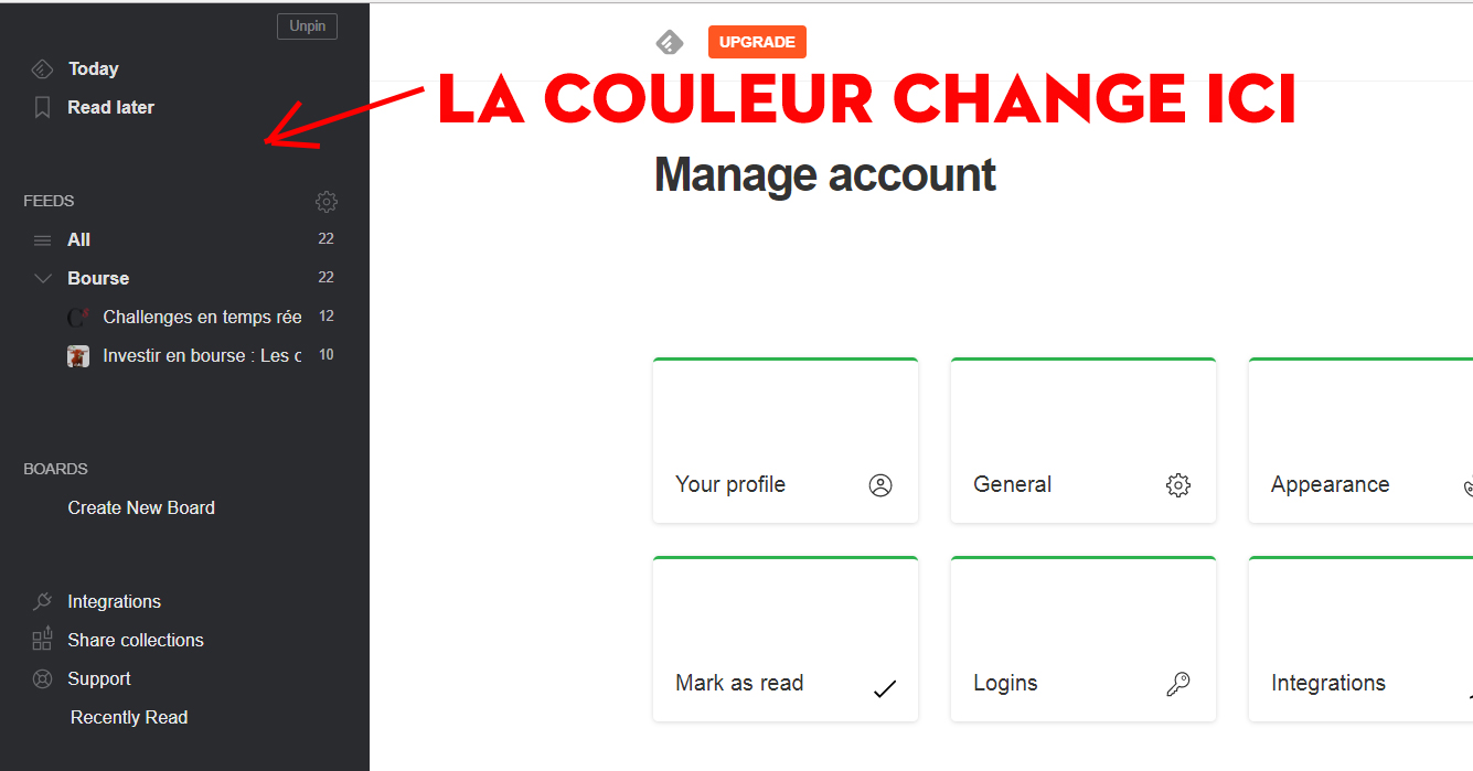Feedly changer la couleur du theme 3