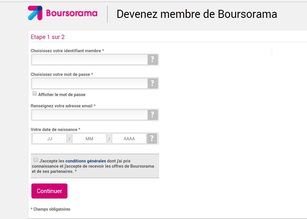 Formulaire Boursorama