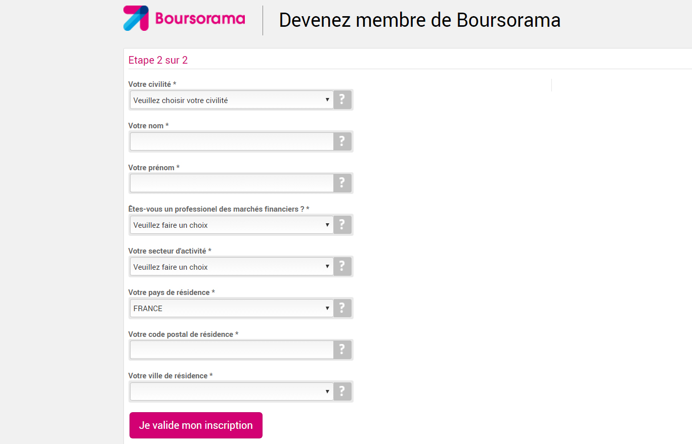 Formulaire Boursorama 2