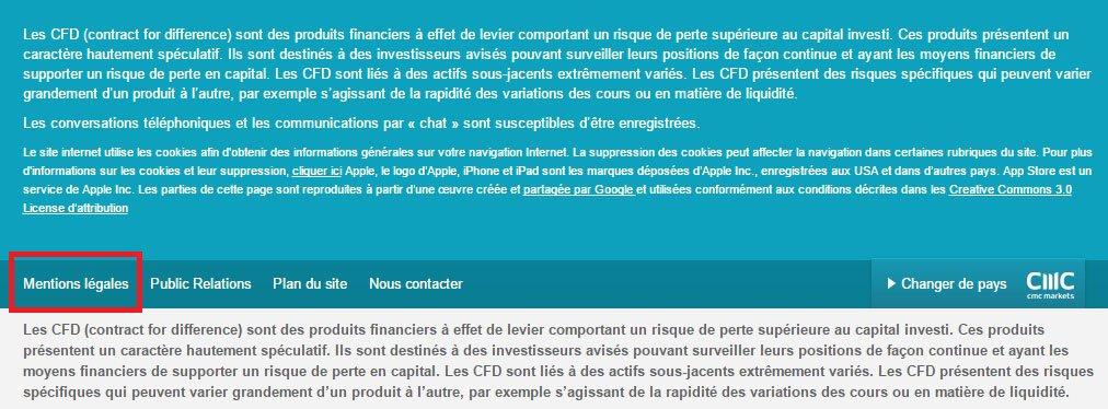 Mentions légales CMC Markets