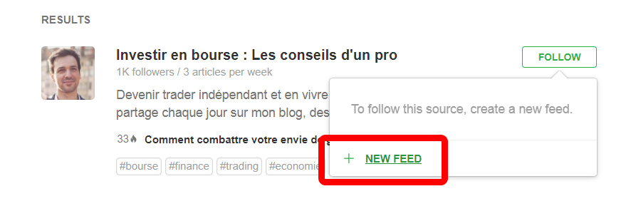New feed sur Feedly