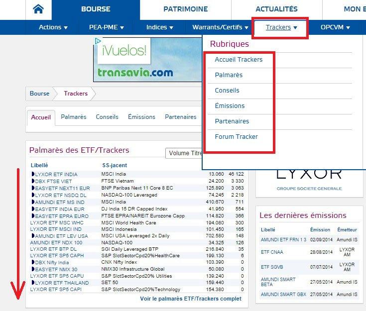 Trouver ETF boursorama