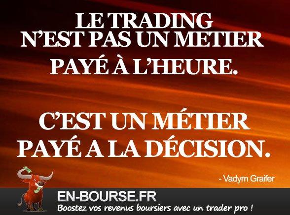 Citation bourse : Le Trading n'est pas un métier payé à l'heure