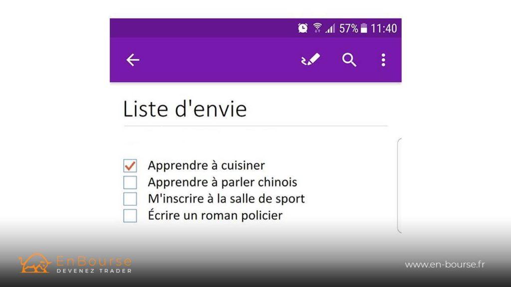 Capture d'écran de l'application one note