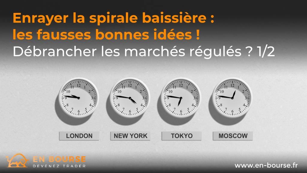 Quatre horloges indiquant les horaires des villes de Londres, New-York, Tokyo et Moscou