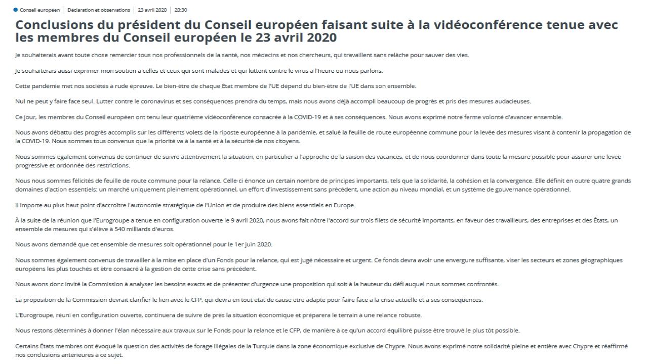 Communiqué du Président du Conseil Européen e belge Charles Michel en avril 2020