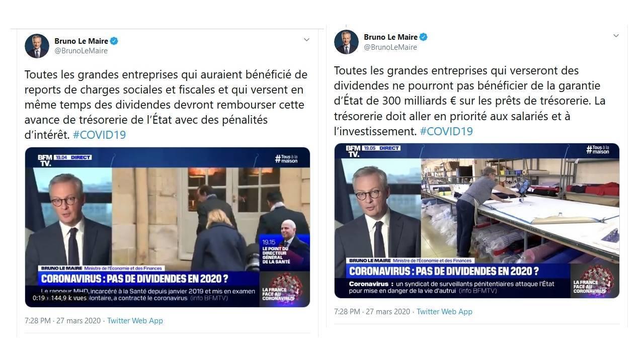 Tweets de Bruno Le Maire, ministre de l'Économie et des Finances français au sujet des conditions de l'aide de l'État