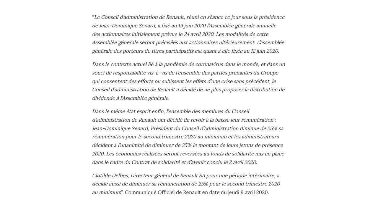 Groupe Renault - Décision du Conseil d'Administration du 06 avril 2020 visant à économiser du cash en période de crise sanitaire