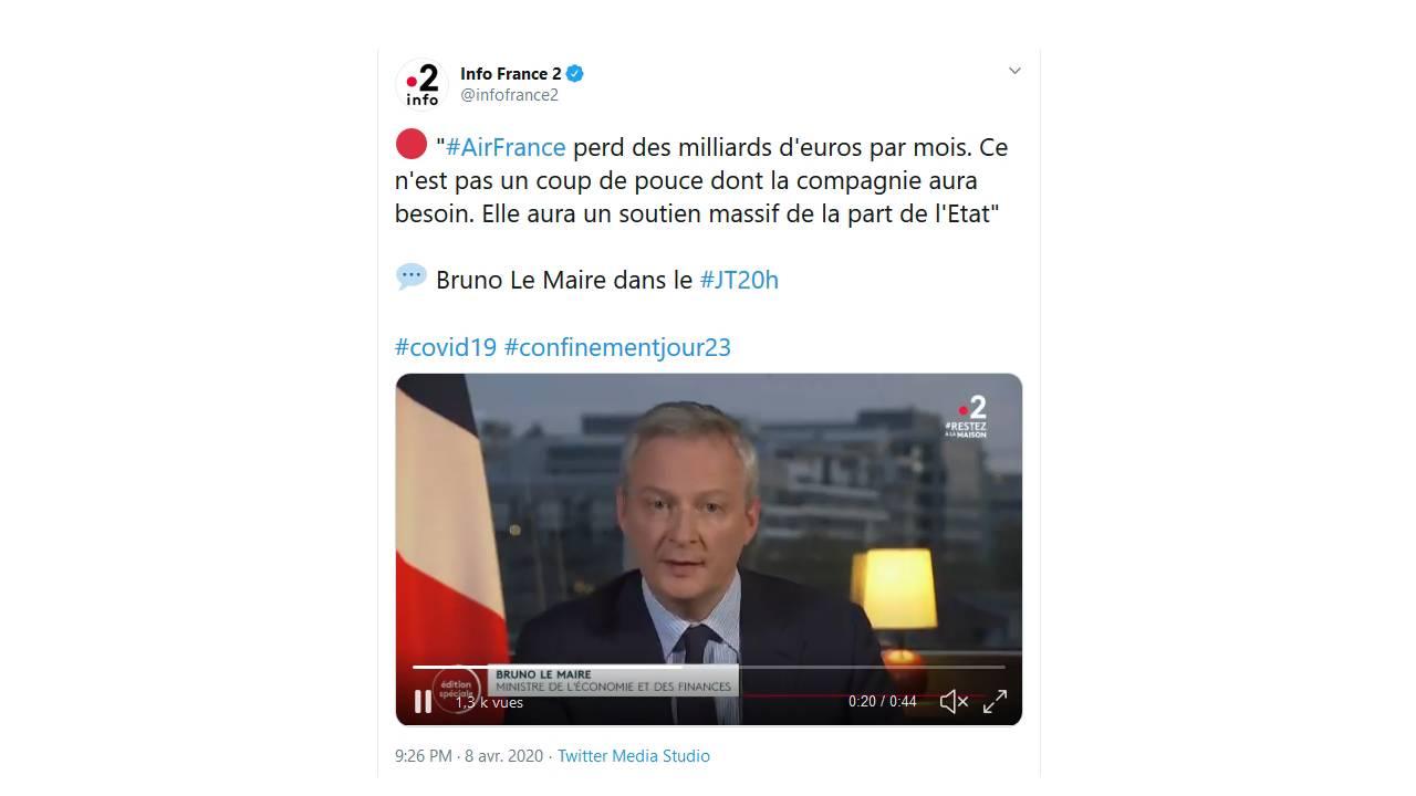 Le ministre de l'économie Bruno Le Maire a toutefois répété que le gouvernement fournira un « soutien massif » à la compagnie, évoquant les 20 milliards d'euros du fonds d'affectation spéciale, géré par l'Agence de Participation de l'Etat.