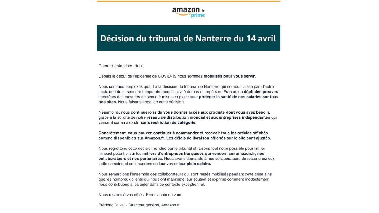Communiqué de presse du groupe américain Amazon France commentant la décision du tribunal de Nanterre du 14 avril 2020