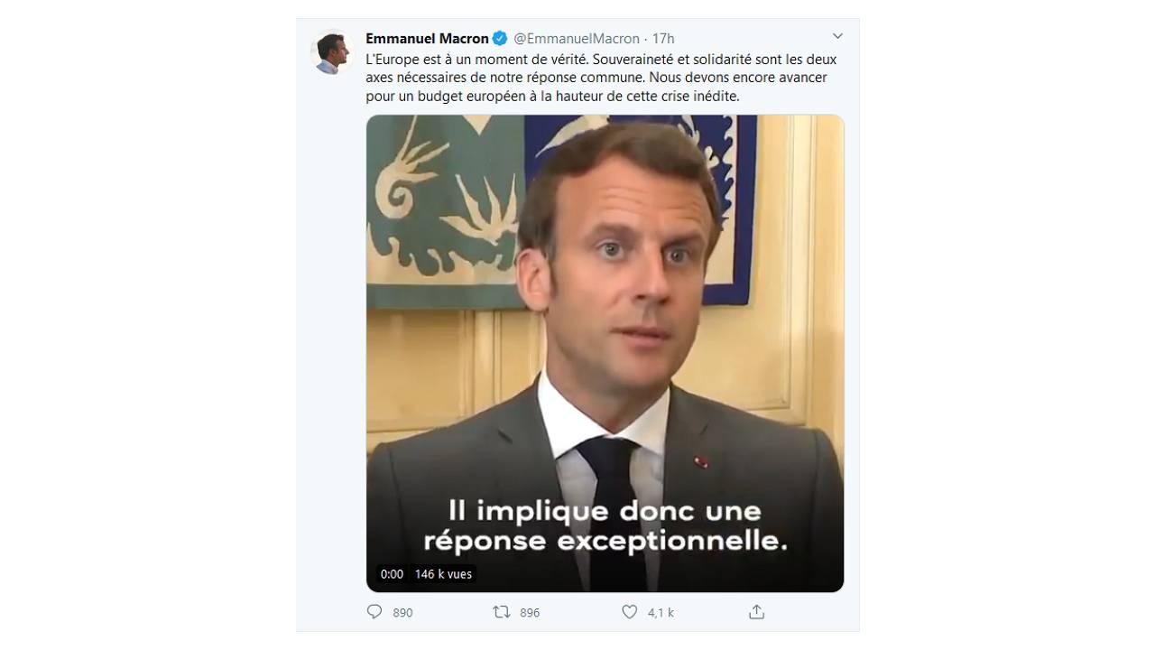 Tweet du président Frnaçais Emmanuel Macron à l'issue de la visioconférence du 23 avril 2020