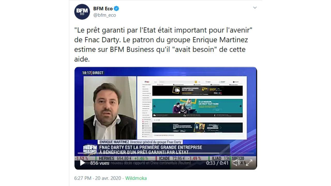 Tweet du Directeur General de Fnac Darty Enrique Martinez