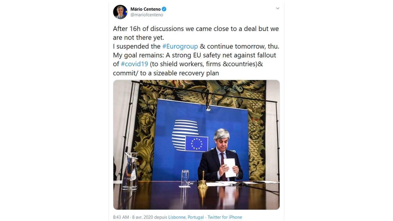 Tweet du Président de l'Eurogroupe, Mario Centeno - avril 2020