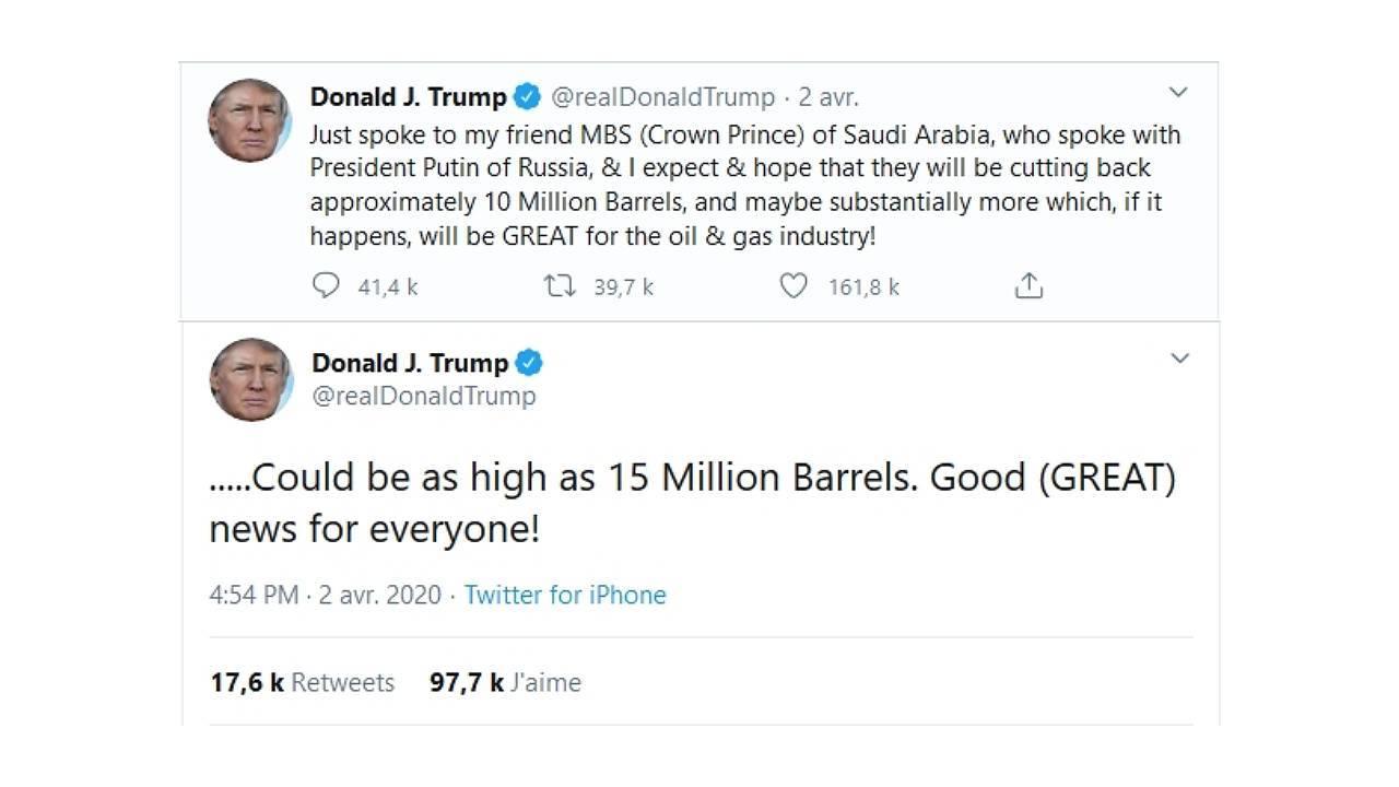Le président américain Donald Trump utilise twitter comme une stratégie de communication pour faire évoluer le prix du pétrole