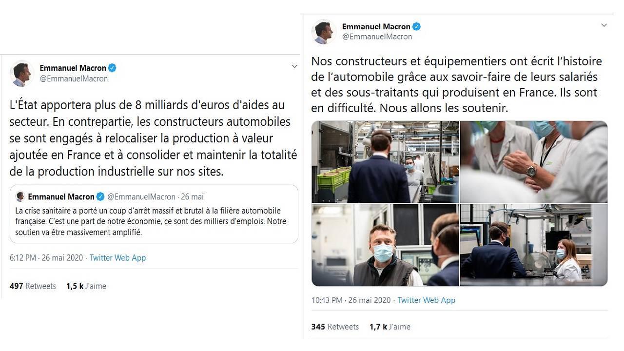 Tweet Emmanuel Macron - Plan de relance automobile 2020