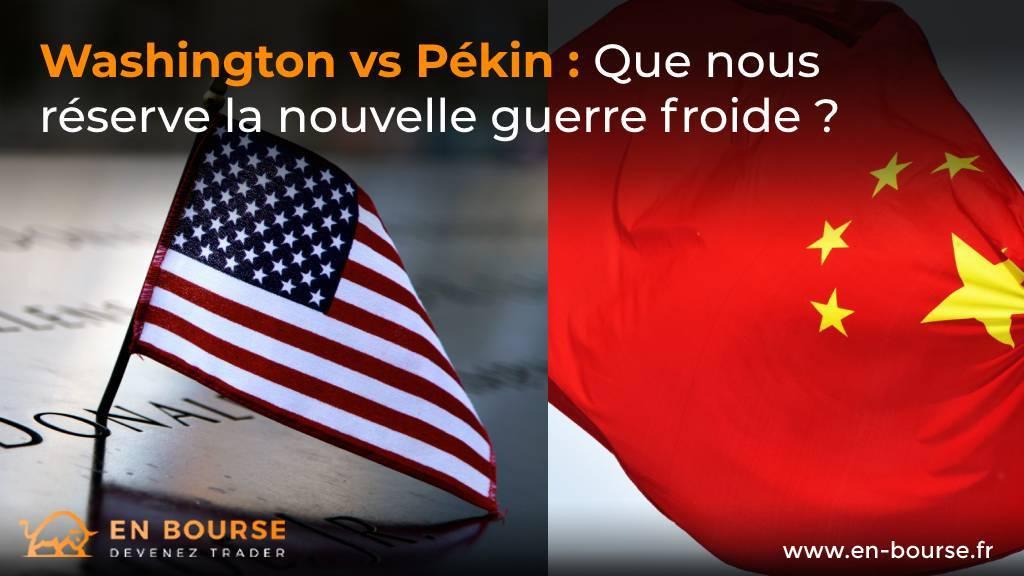 Drapeau des Etats-Unis à côté du drapeau de la République populaire de Chine