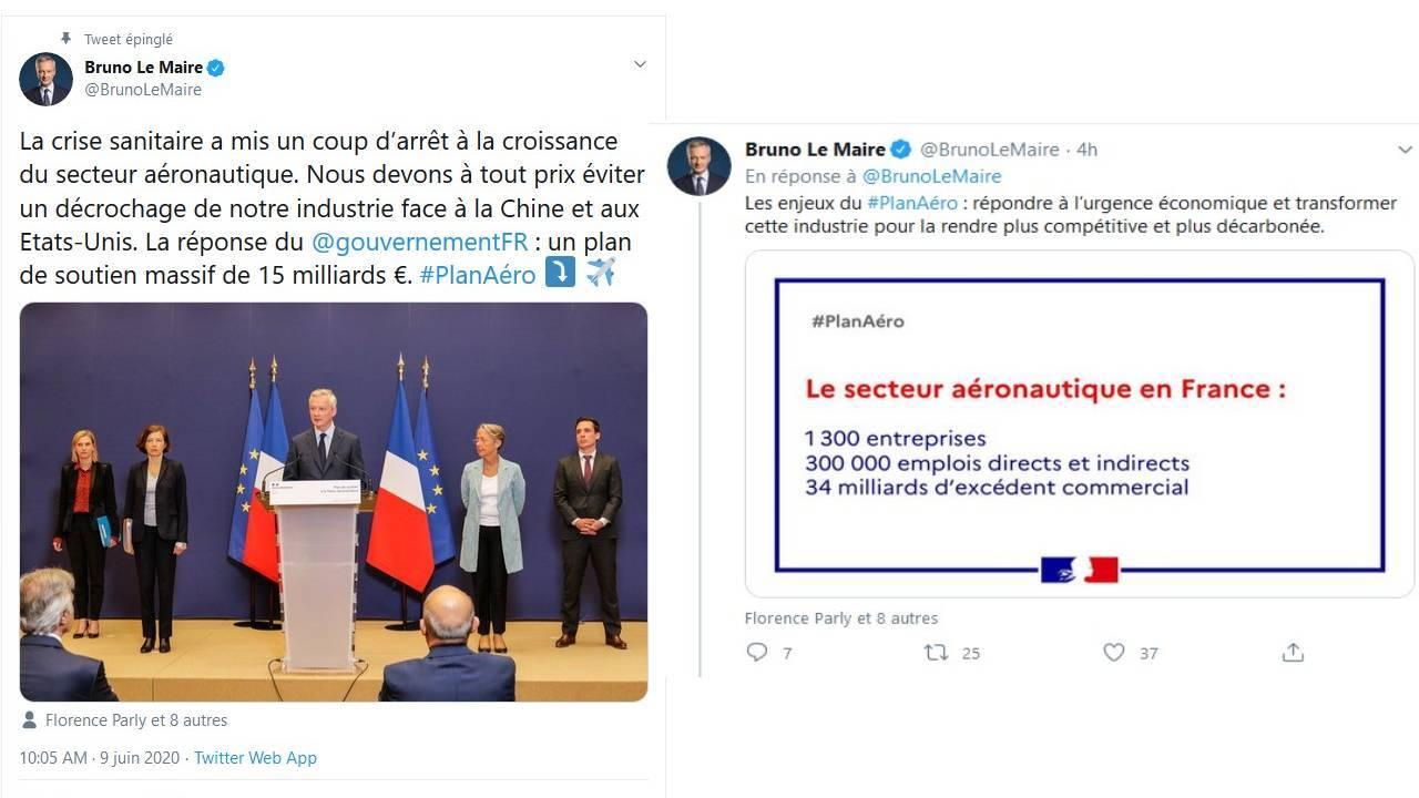 Tweets du ministre de l'2conomie et des Finances Brune Le Maire - 09juin2020