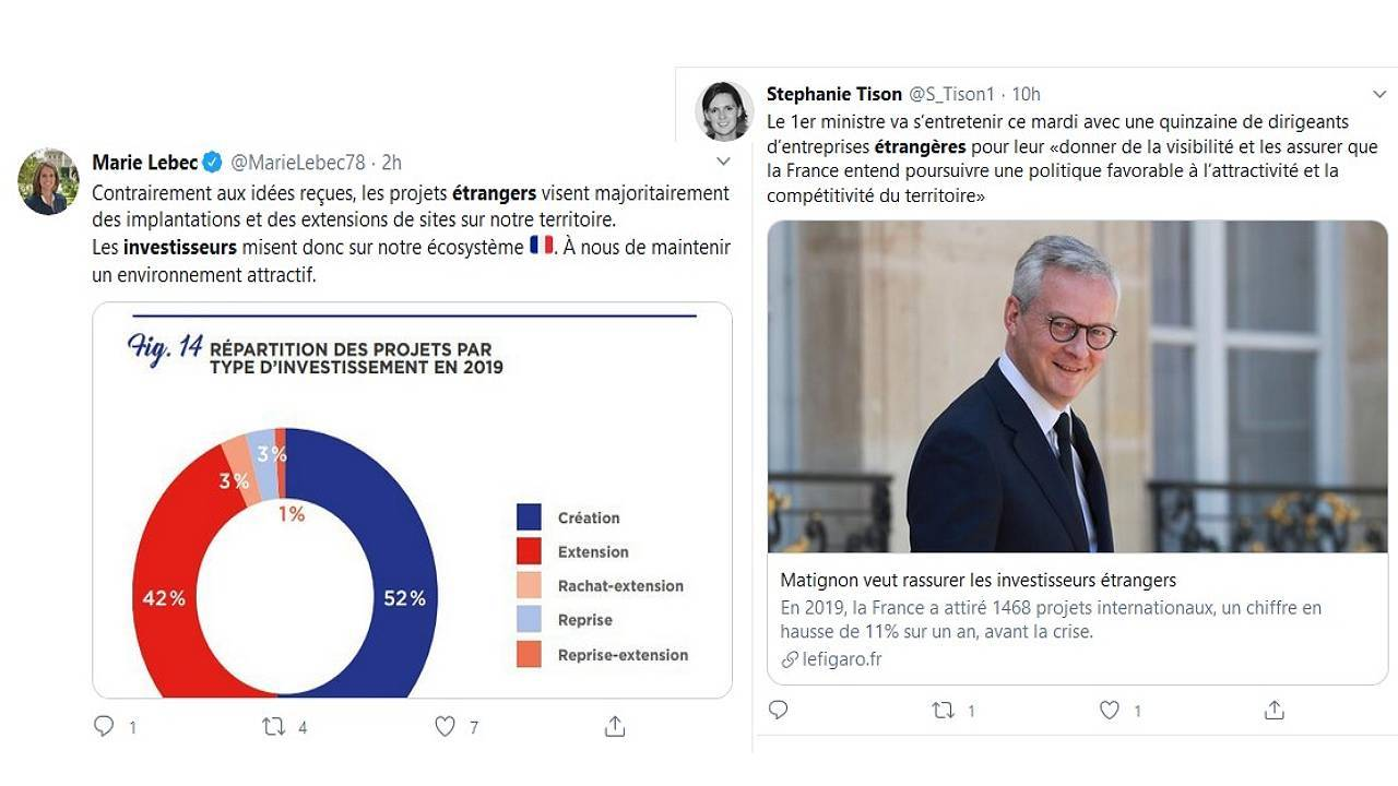 Tweets du MEDEF et de la REM suite à la publication du rapport Business France 2019