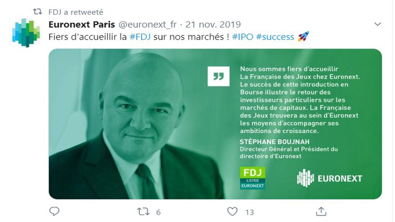 Tweet euronext pour saluer une introduction réussie de la FDJ