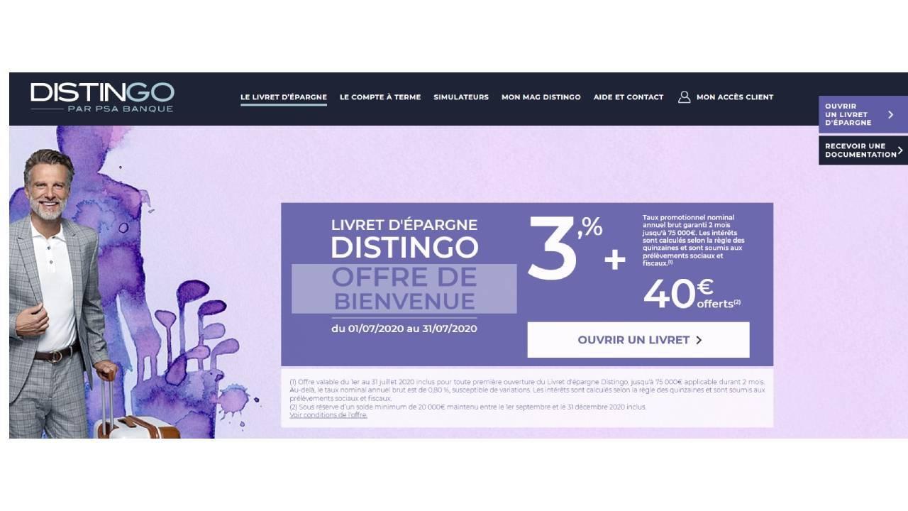 Offre promotionnelle de PSA Banque pour le livret bancaire Distingo