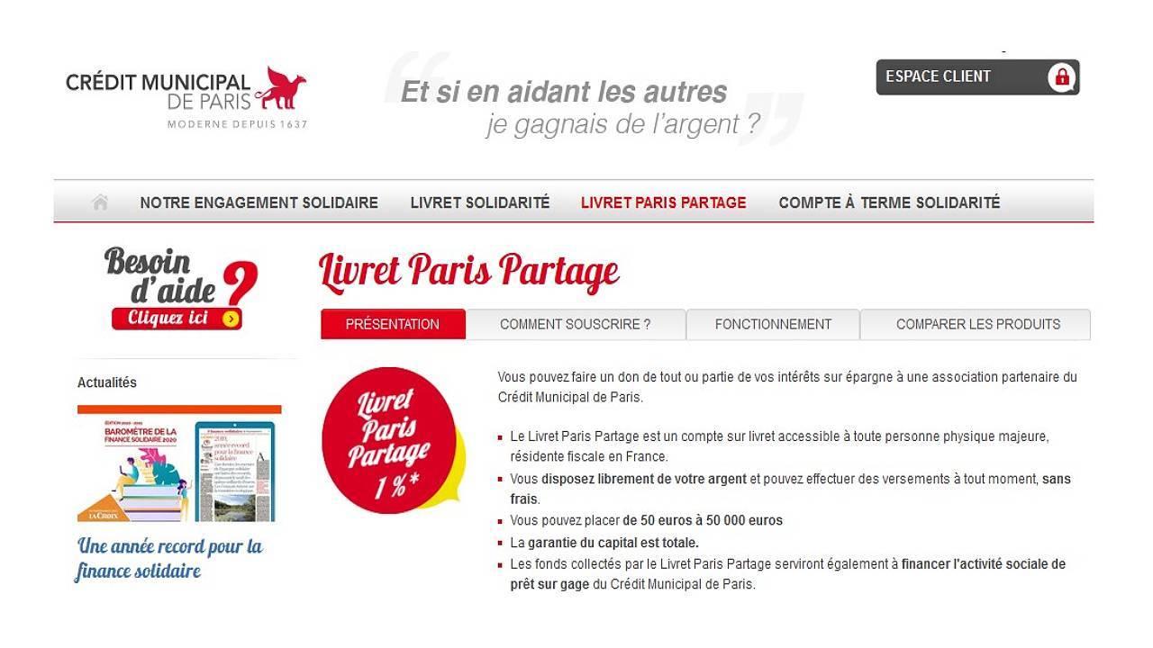Détail de l'offre du Crédit municipal de Paris - Livret Solidaire
