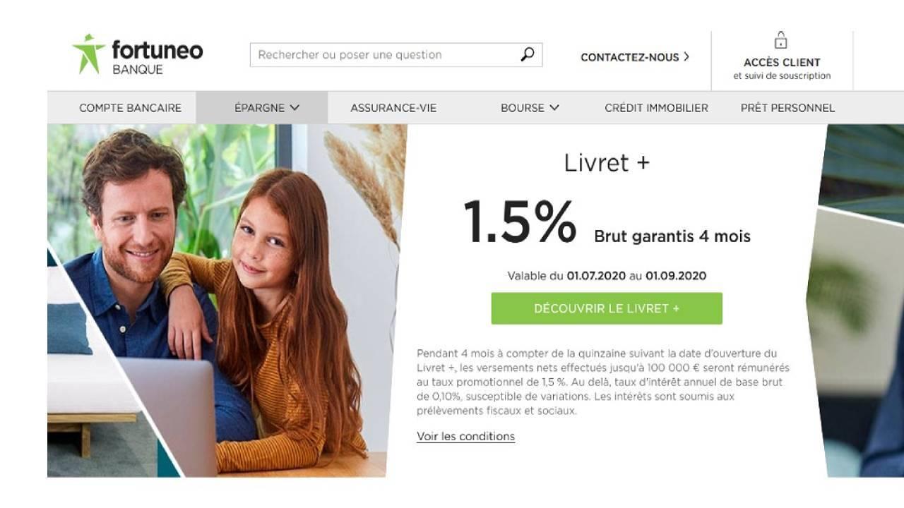 Offre promotionnelle Fortuneo Banque pour le livret bancaire +