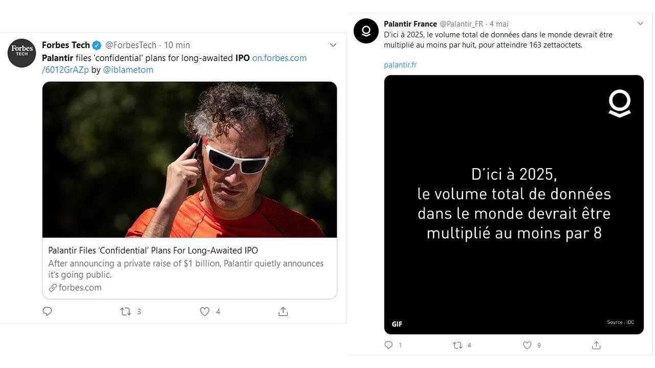 TWeets concernant la tech amércaine IPO