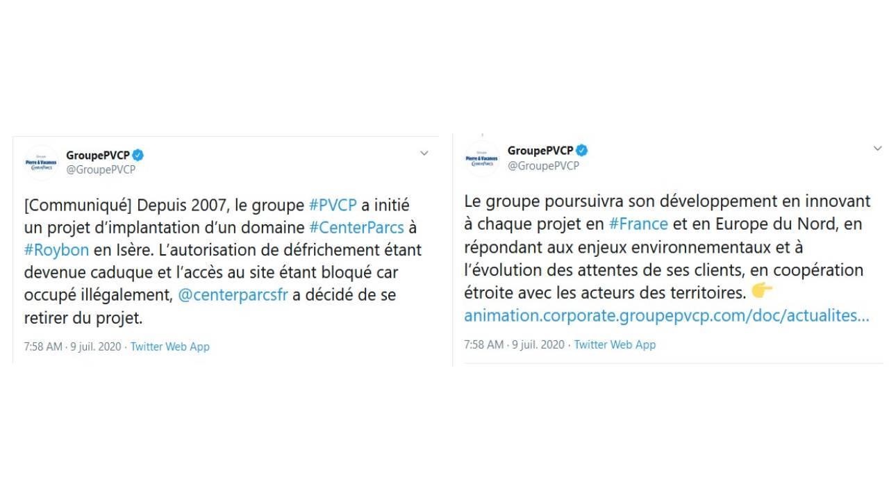 Tweets du groupe Pierre et Vacances - 09 juillet 2020