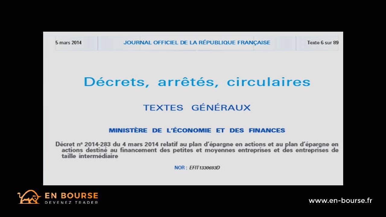 Extrait du décret de mars 2014 portant sur la création d'un PEA-PME