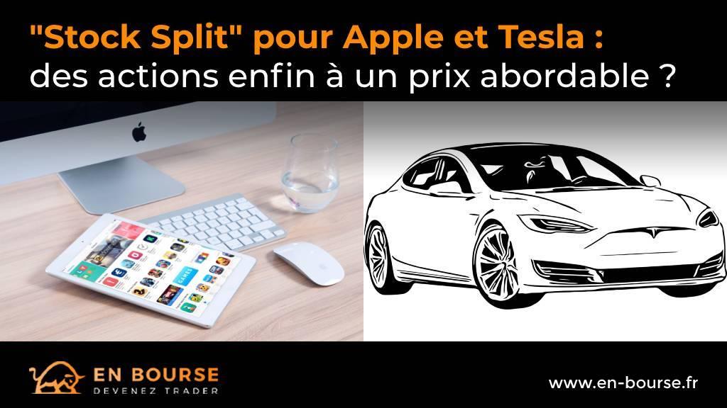 Equipement de bureau de la marque apple à côté dun Model S de Tesla