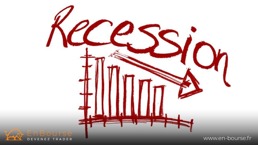 Récession imagée par un graphique et une tendance baissière