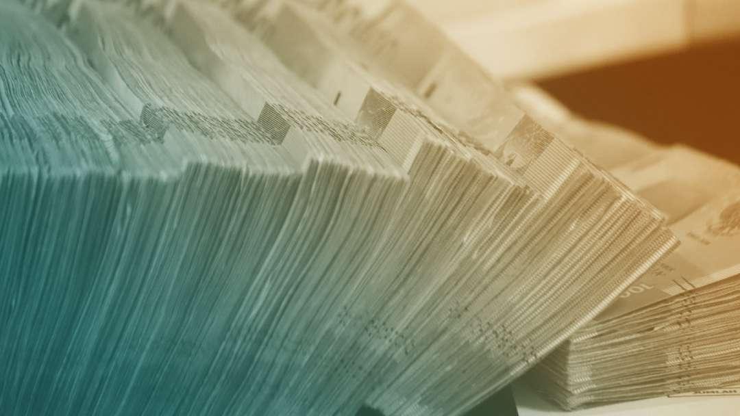Liasses de billets de banque en euros
