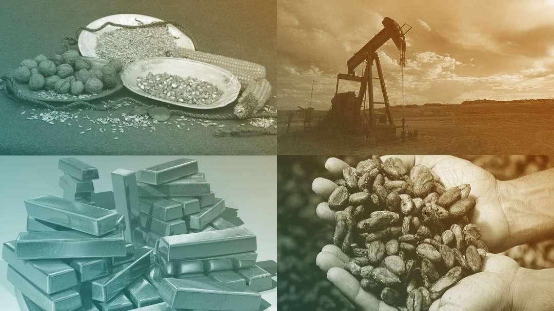 Différents types de matières premières : café, pétrole, or,maïs