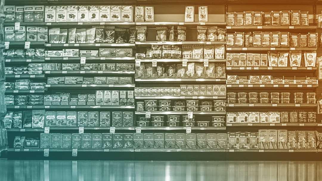 Etalage d'un rayon de supermarché