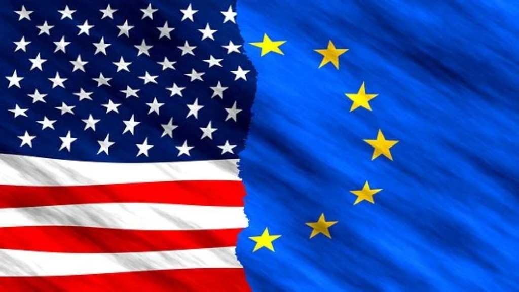 Drapeaux américain et européen imbriqués