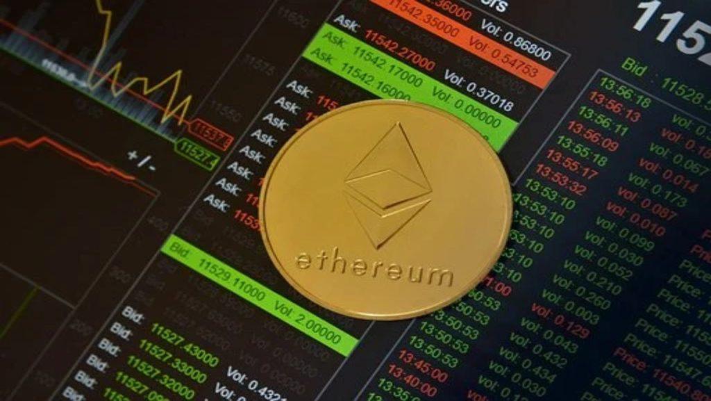 Pièce d'ETH sur une application de trading