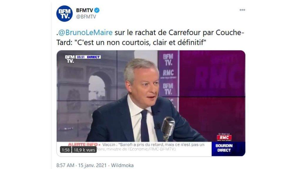 TWeet de Bruno Lemaire en date du 15 janvier 2021