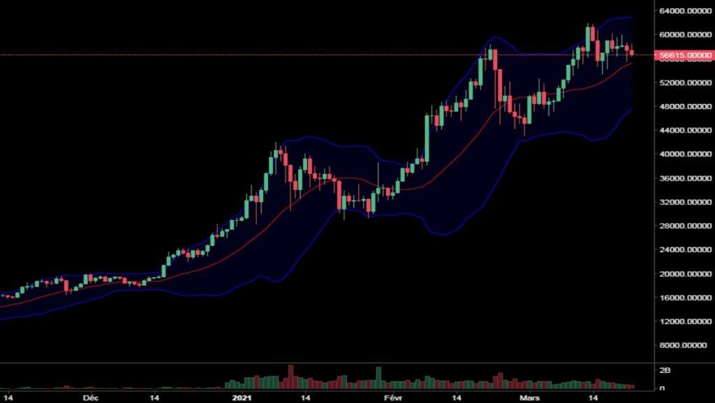 Cotation du Bitcoin en dollar US de novembre 2020 à mars 2021 en UT Daily