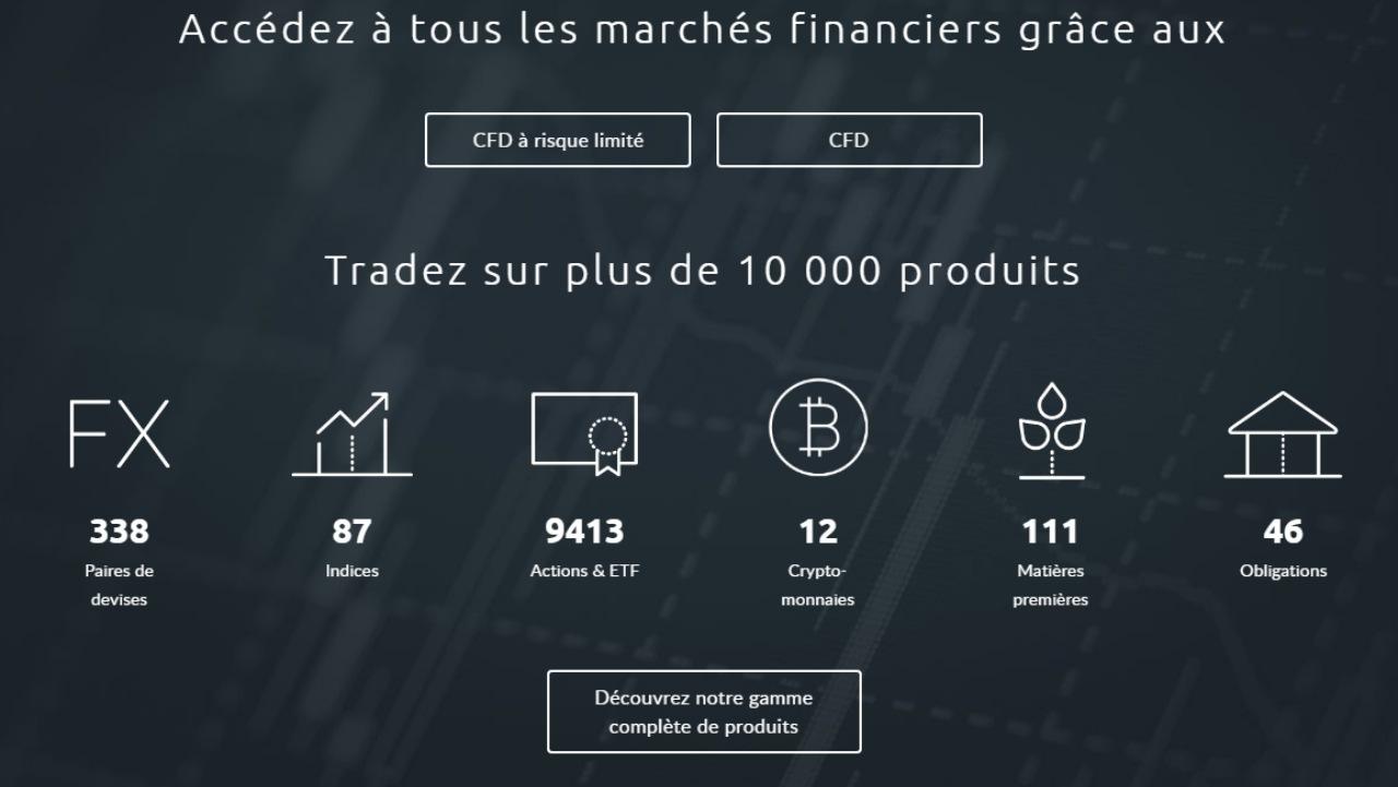 Capture d'écran des produits proposés sur le site du courtier CMC Market