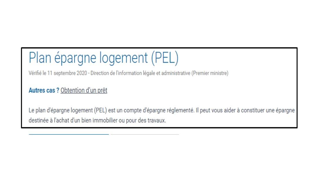 Définition du PEL selon le site service public
