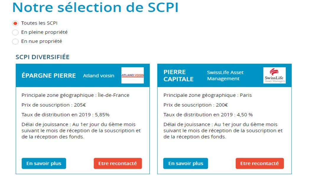 Exemple de sélection de SCPI chez le couriter en assurance vie Altaprofits