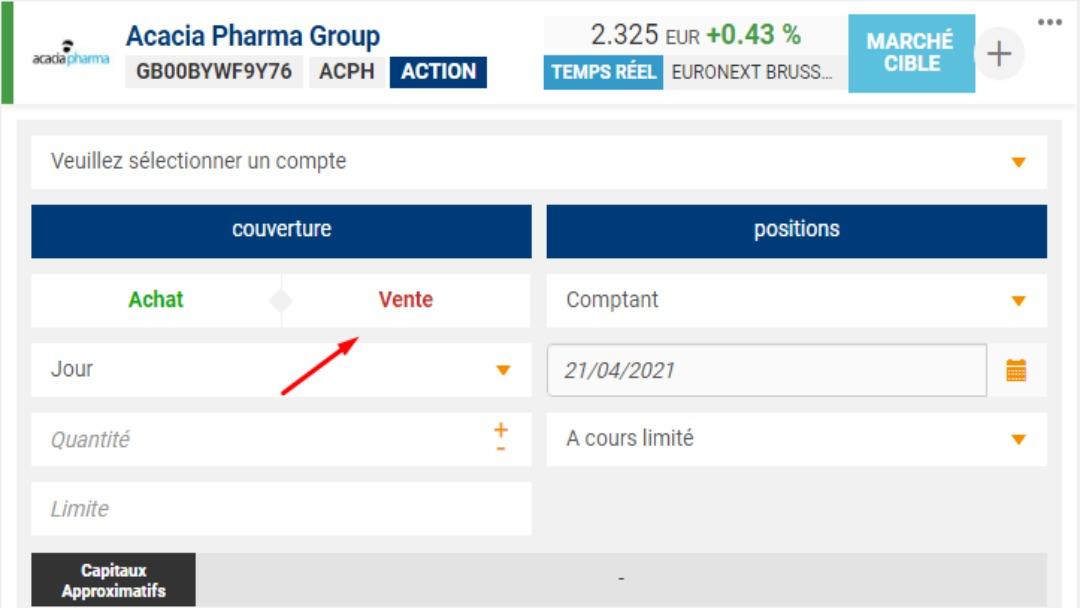 Exemple de ticket d'ordre avec la possibilité d'utiliser la vente à découvert sur Bourse Direct