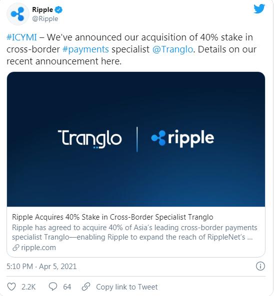 Tweet de Ripple labs concernant sa prise de participation dans une société spécialisée dans les paiements transfrontaliers