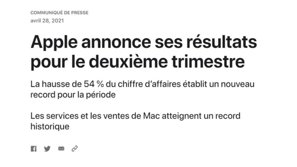 Introduction du communiqué de presse d'Apple sur ses résultats