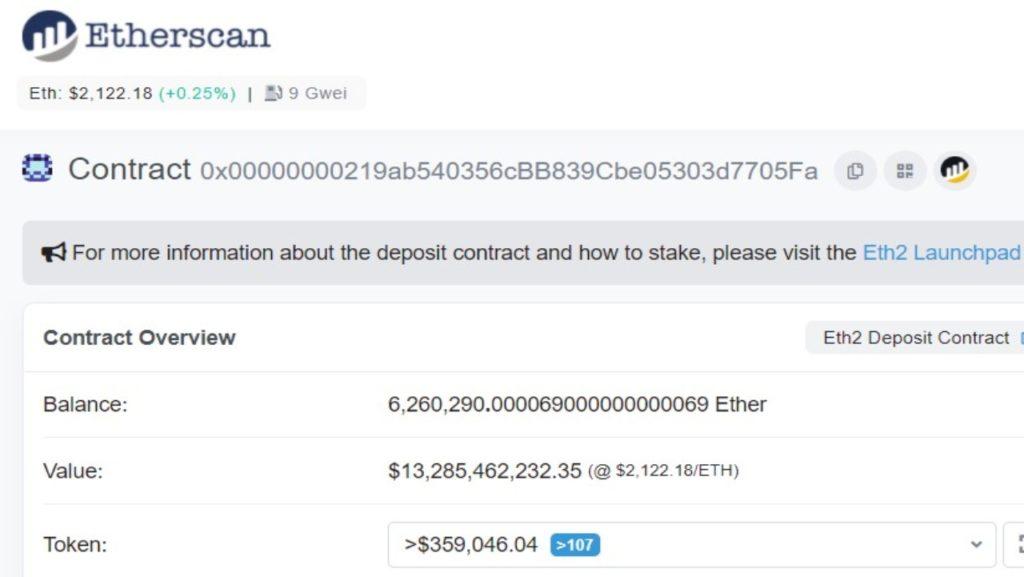 Nombre d'ETH déposés et valeur correspondante sur le contrat ETH 2.0