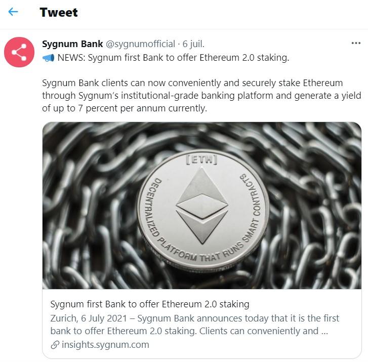 Tweet de la banque suisse Sygnum