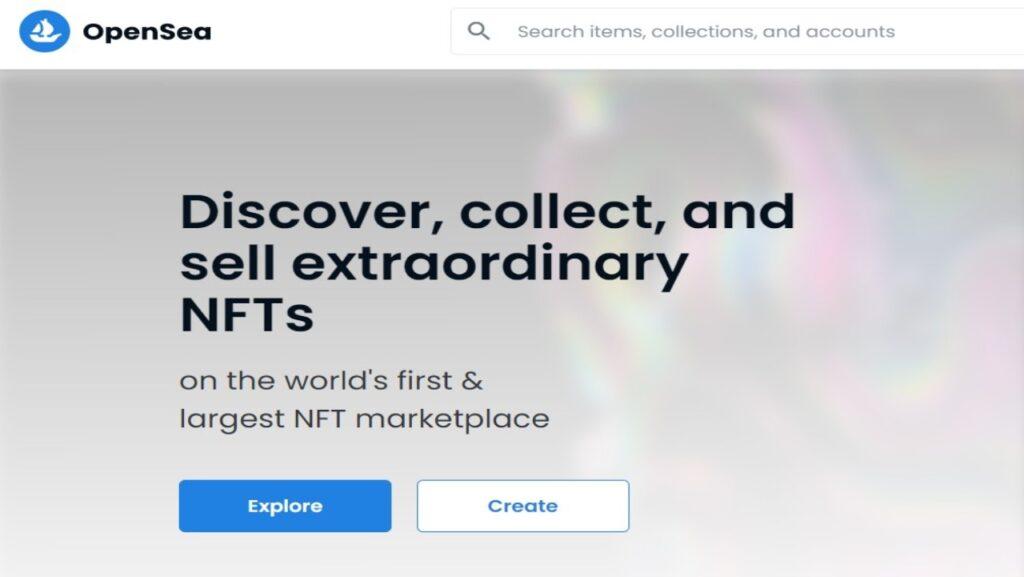 Exemple de la plateforme Opensea qui permet de créer et d'enchérir sur des NFT